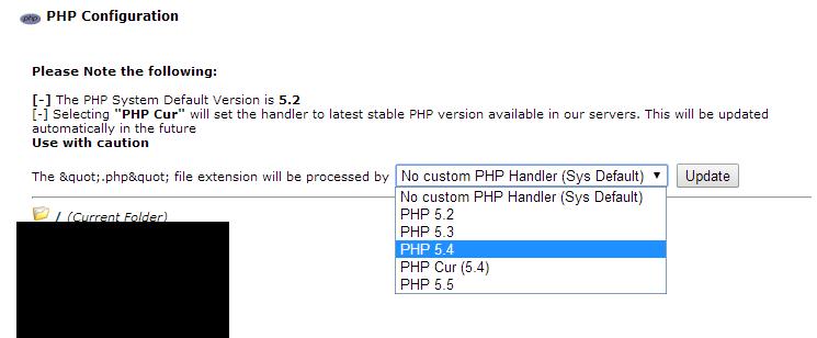 seleccionPHP Actualización de servidores a la versión default de PHP 5.4